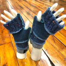 Load image into Gallery viewer, chunky jewel tones of teals + blues fingerless mittens