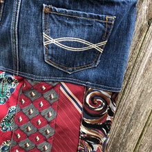 Load image into Gallery viewer, dark blue denim + red multi tie skirt
