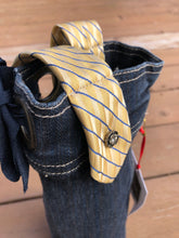 Load image into Gallery viewer, blue denim + bow yellow tie wine sleeve