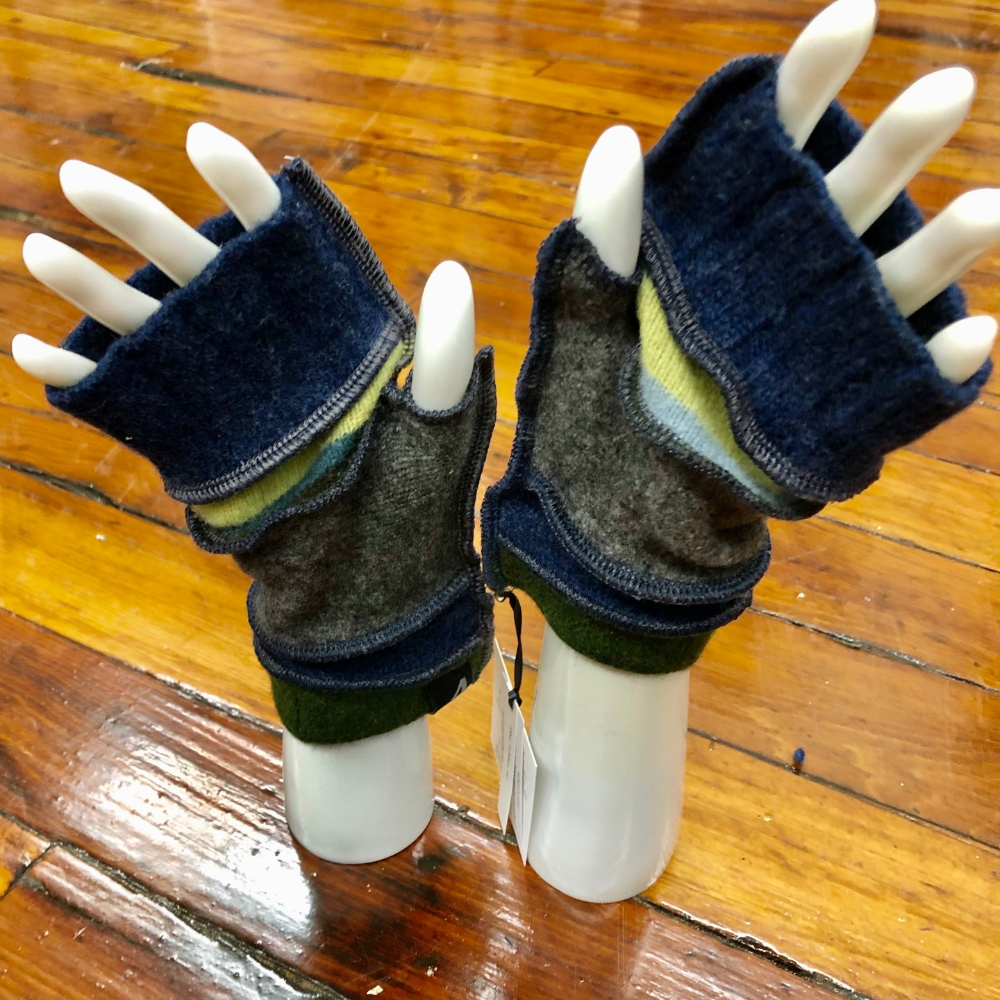 forest green, navy + charcoal fingerless mittens