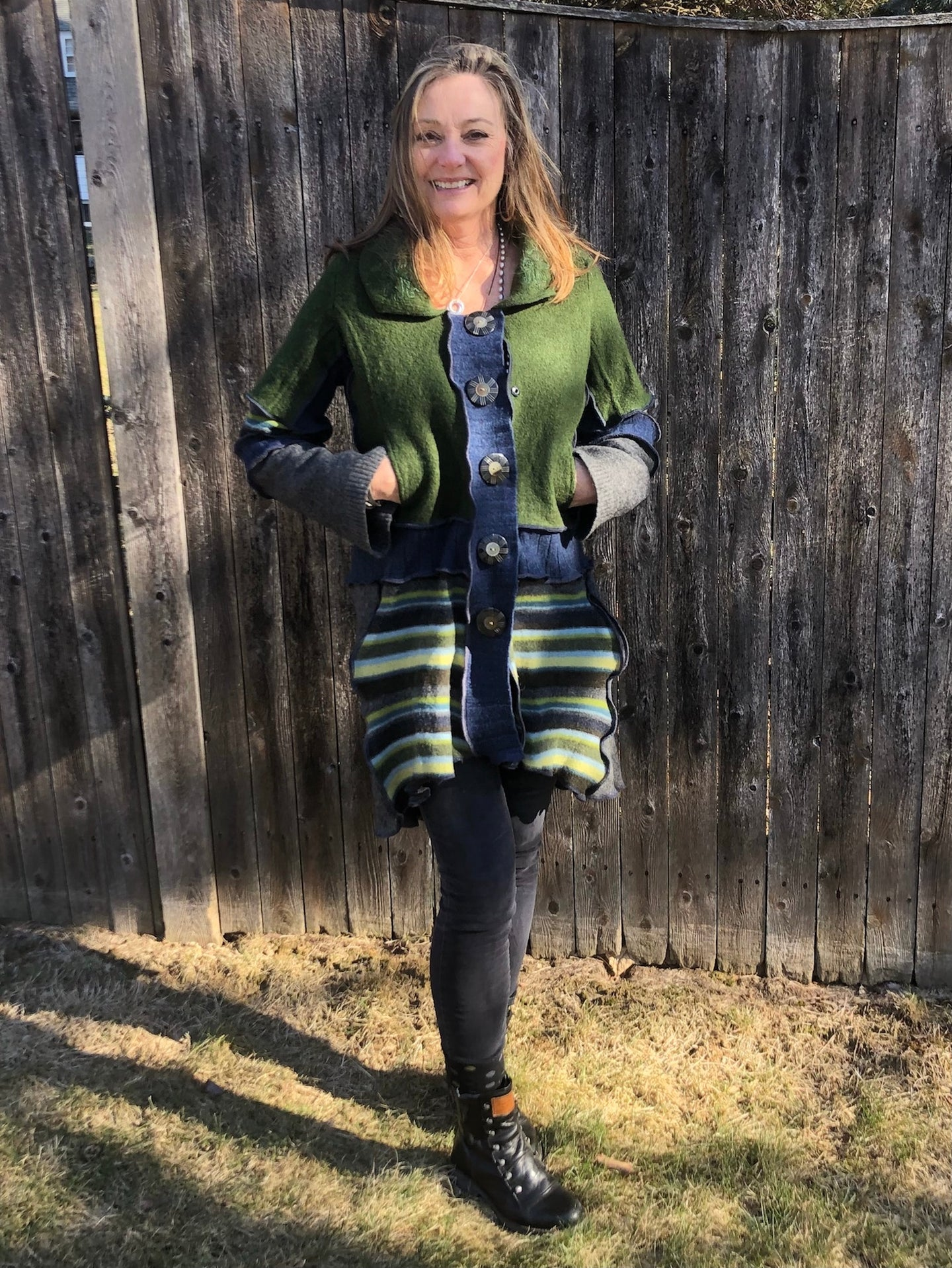 forest green embroidered collared cozy cardigan coat