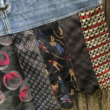 Load image into Gallery viewer, shades of blacks patterned ties + distressed denim skirt