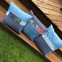 "Load image into Gallery viewer, 16"" denim block pillow"
