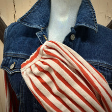 Load image into Gallery viewer, vintage peplum dark denim + creamsicle stripped balloon sleeves