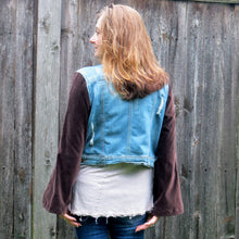 Load image into Gallery viewer, dark chocolate velvet bohemian distressed denim jacket
