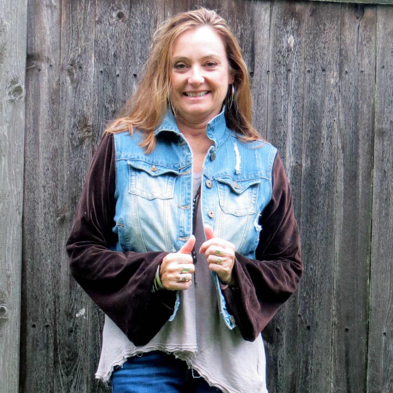 dark chocolate velvet bohemian distressed denim jacket
