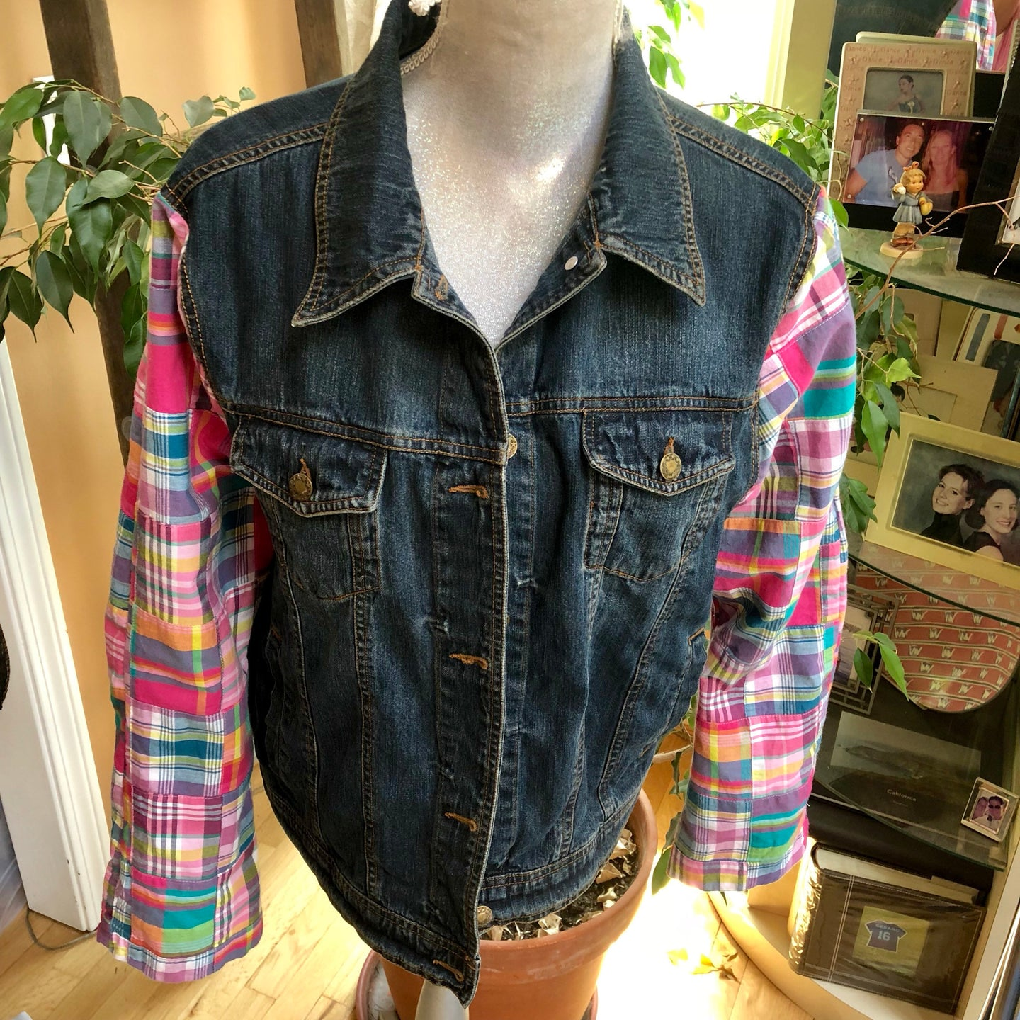 colorful madras bell sleeved denim jacket