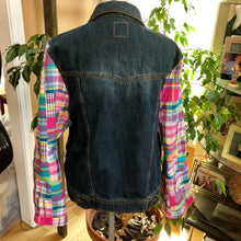 Load image into Gallery viewer, colorful madras bell sleeved denim jacket