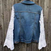 Load image into Gallery viewer, vintage crochet lace bell sleeved denim jacket