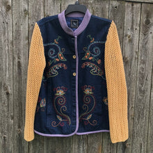 Load image into Gallery viewer, embroidered long denim jacket + sunshine waffle knit sleeves