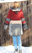 Load image into Gallery viewer, cranberry, tan, gray argyle felted wool aline cardigan
