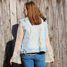 Load image into Gallery viewer, mesh lace bells + distressed light denim jacket