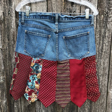 Load image into Gallery viewer, red themed tie + denim skirt