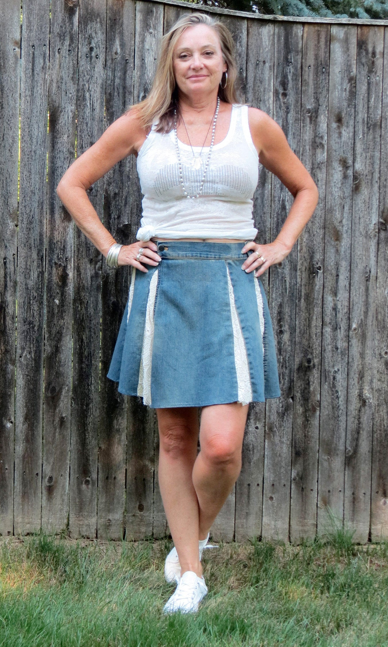 distressed stretch denim + ivory lace flare skirt