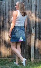 Load image into Gallery viewer, retro lucky meets lily denim skirt