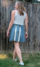 Load image into Gallery viewer, distressed stretch denim + ivory lace flare skirt