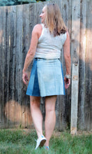 Load image into Gallery viewer, shades of denim + madras pocket flare skirt