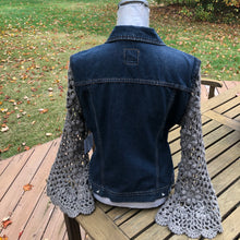 Load image into Gallery viewer, charcoal crochet floral + dark blue denim jacket