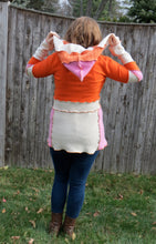 Load image into Gallery viewer, orange + pink argyle cashmere hooded tunic sweater