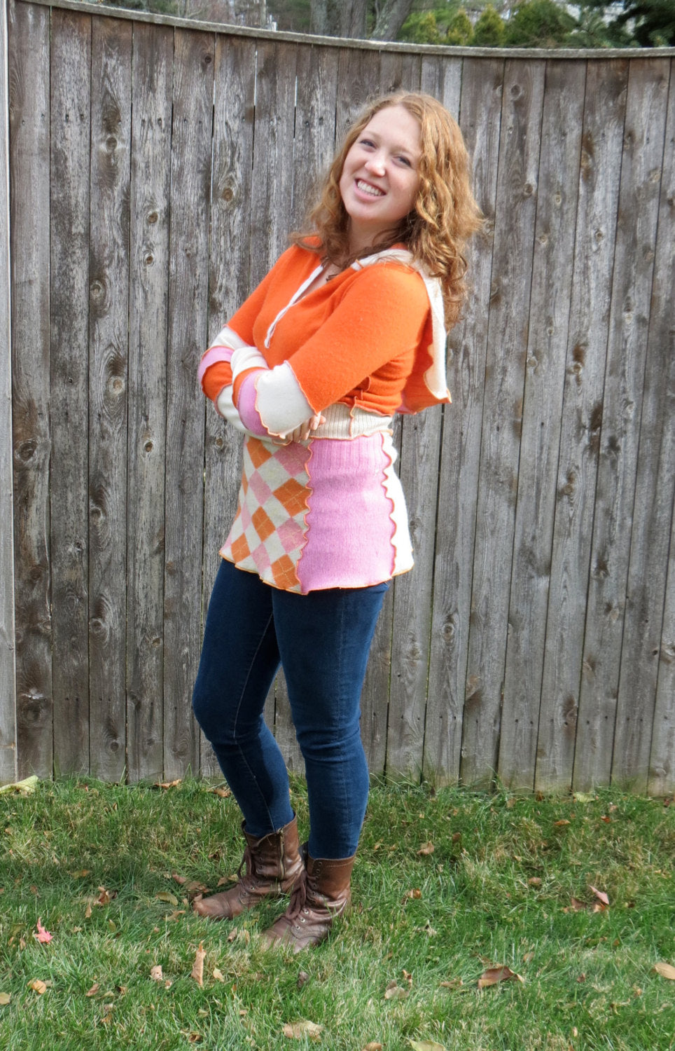 orange + pink argyle cashmere hooded tunic sweater