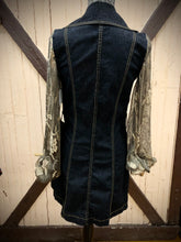 Load image into Gallery viewer, dark denim black + gold lace sleeved tailored trench jacket/dress