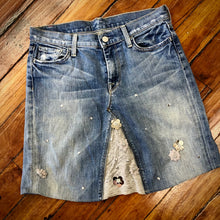 Load image into Gallery viewer, vintage 7 distressed denim + retro bling skirt