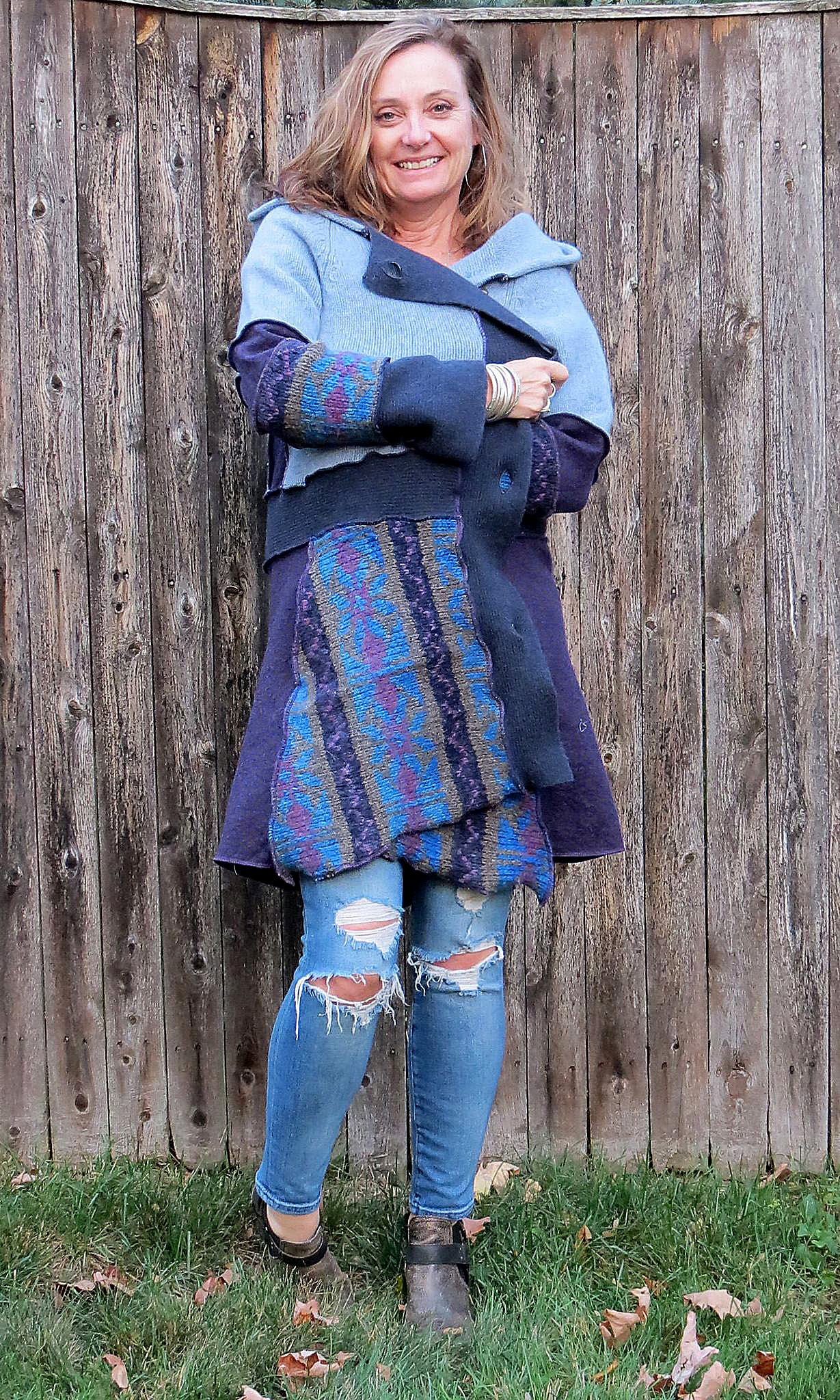 dusty blues + purple jewel tone swing coat
