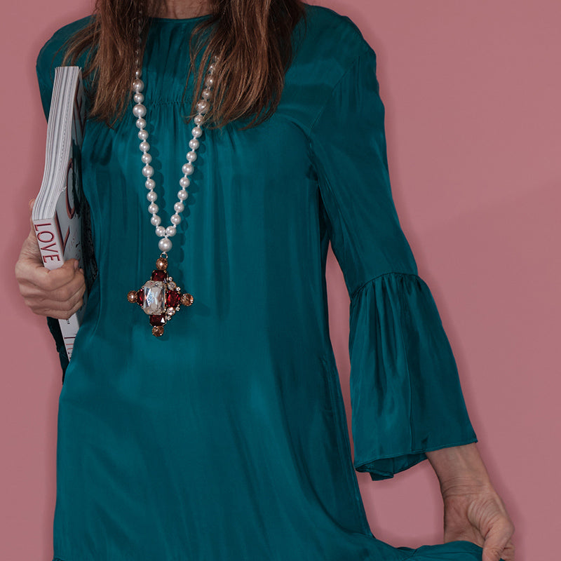 Push Button Dress petrol green