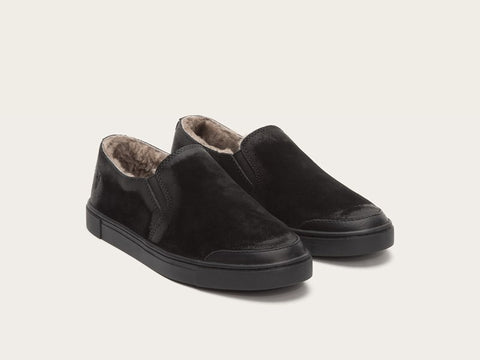 black slip on with shearling