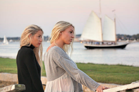 Laura Jean models wear Magaschoni cashmere and Chan Luu