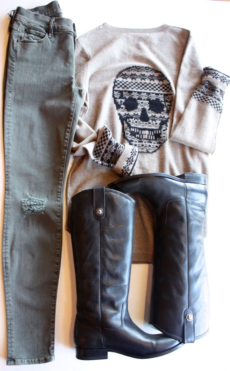 Skull Cashmere Alpine Sweater with Mother Denim and Frye Melissa Button
