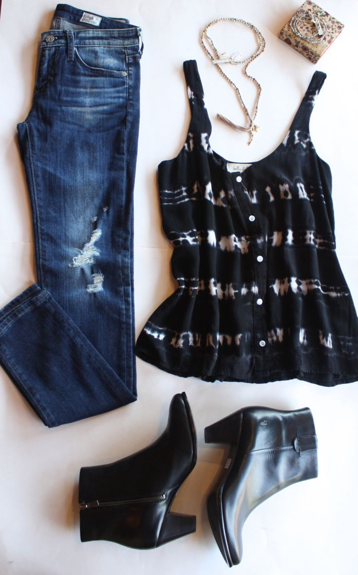 Tie dye tank outfit with denim and booties
