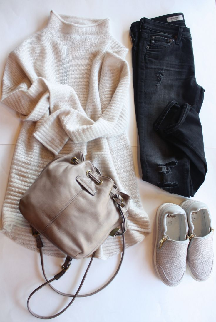 360 Sweater cream turtleneck cashmere outfit