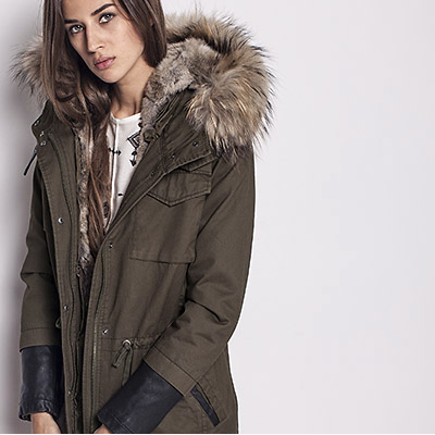 IKKS fur lined parka blends cold weather comfort and military style