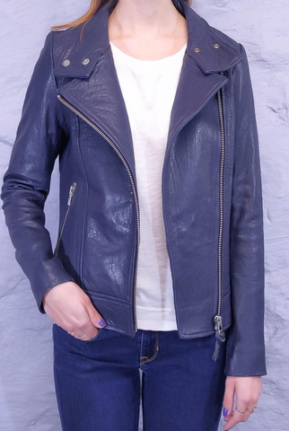 Mackage - Lisa - Navy Pebble Leather Jacket