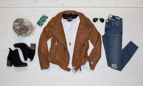 Mackage - Hania Leather Moto Jacket - Cognac