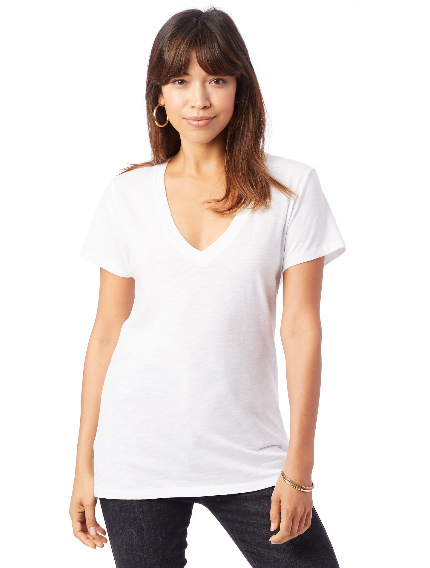 Weathered Slub So Low V-Neck T-Shirt - White