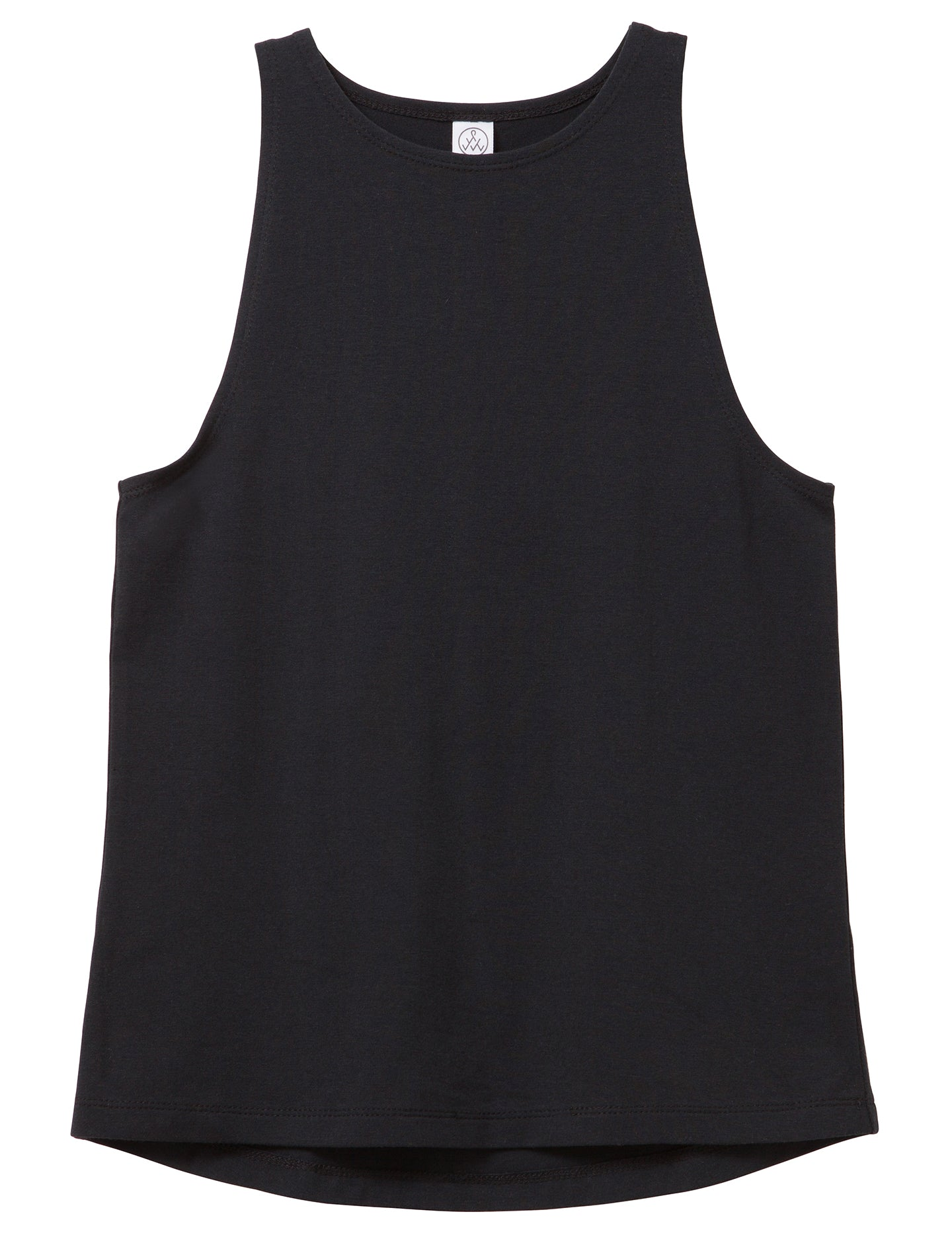 High Neck Cotton Modal Fitted Tank Top - Black