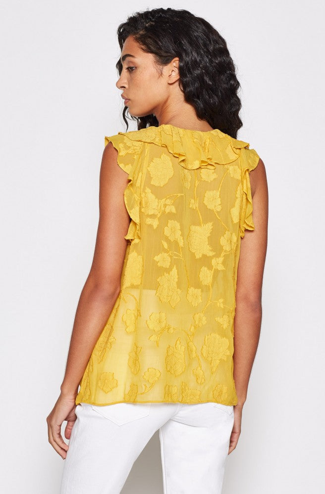 Eddison Floral Ruffled Top - Antique Moss