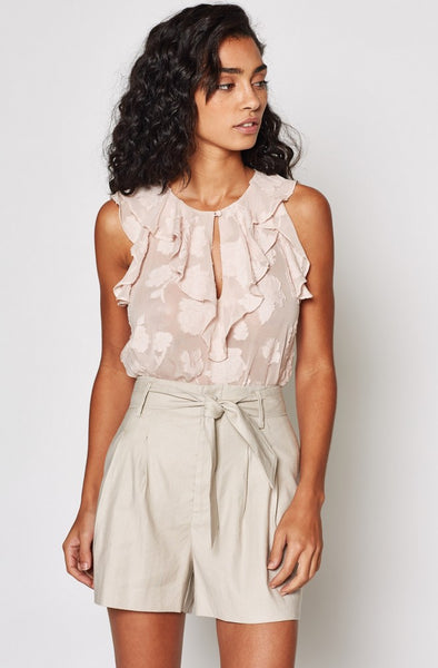 Eddison Floral Ruffled Top - Pink Sky