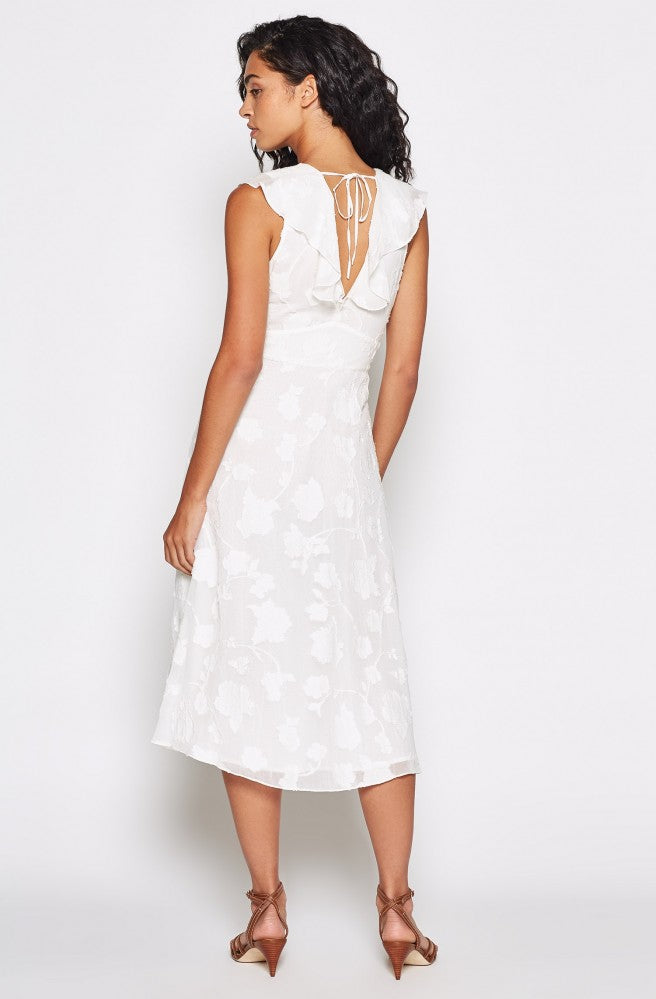 Adella Floral Ruffled Dress - Porcelain
