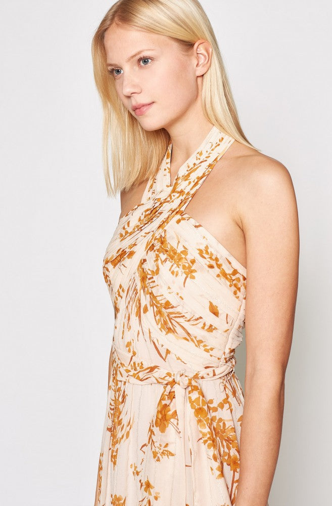 Arney Silk Dress - Peach Cream