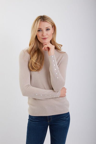 Crew Neck Sweater w/ Cuff Buttons - Oat