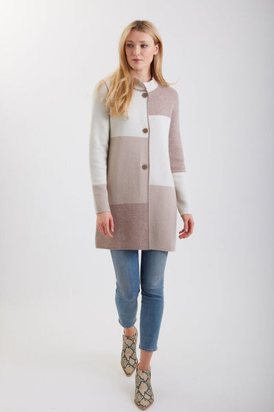 Reversible Color Block Coat - Ivory Oat Truffle