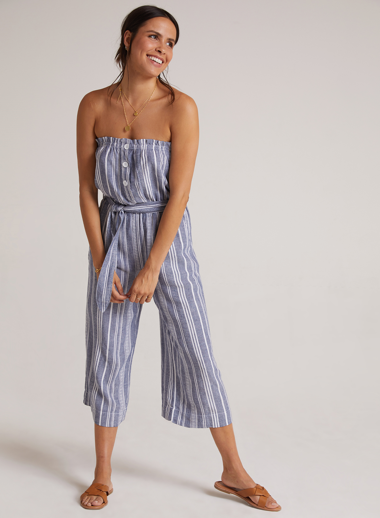 Ruffle Strapless Jumpsuit - Navy/White