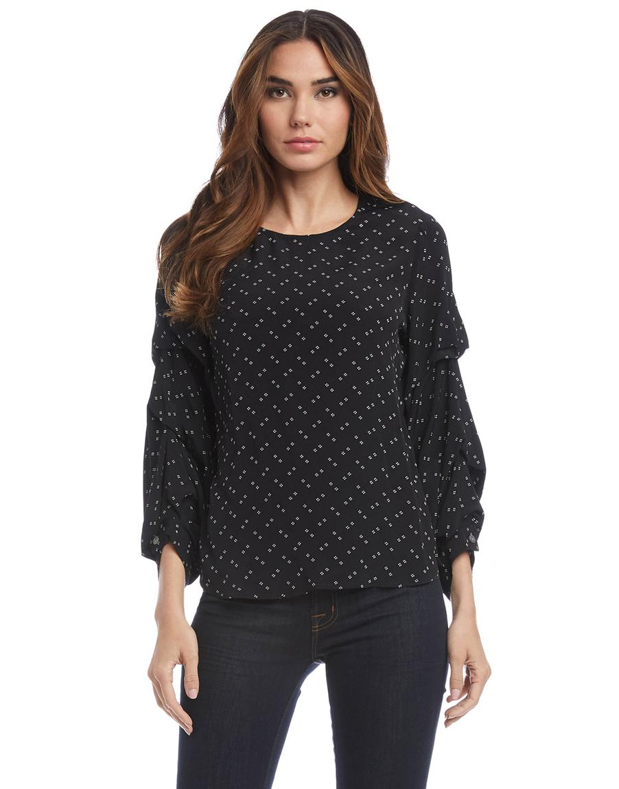 Ruched Sleeve Top - Print