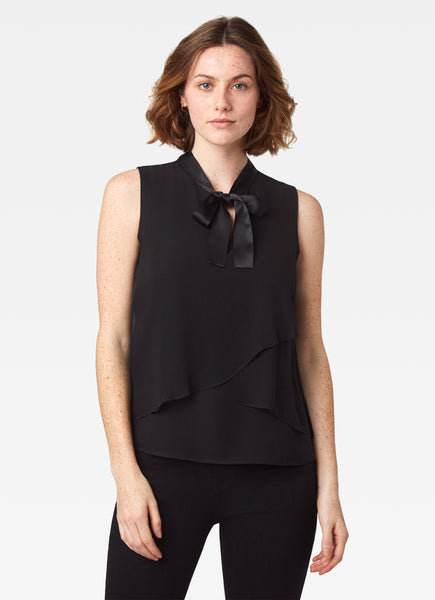 Knightley Tie Neck Shell - Black