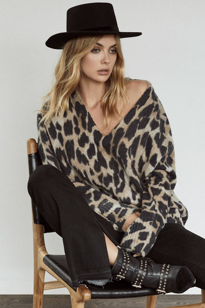 Geraldine Sweater - White Smoke/Leopard