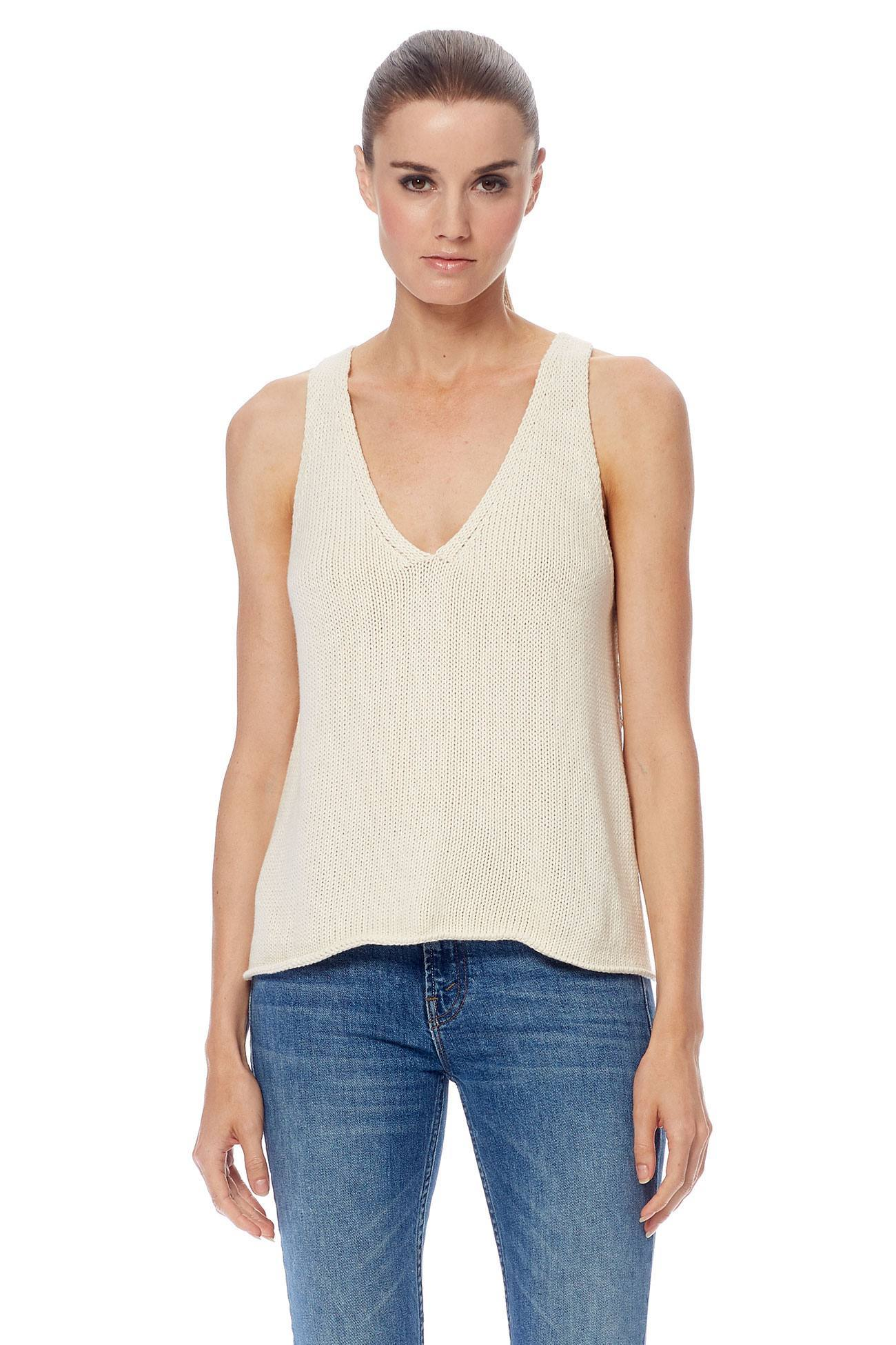 Cooper V-Neck Cami Tank - Cream