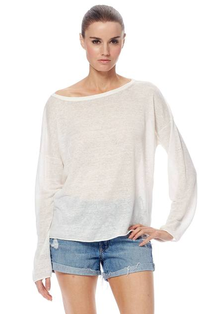 Velvet LS Boatneck Sheer Tee - Chalk